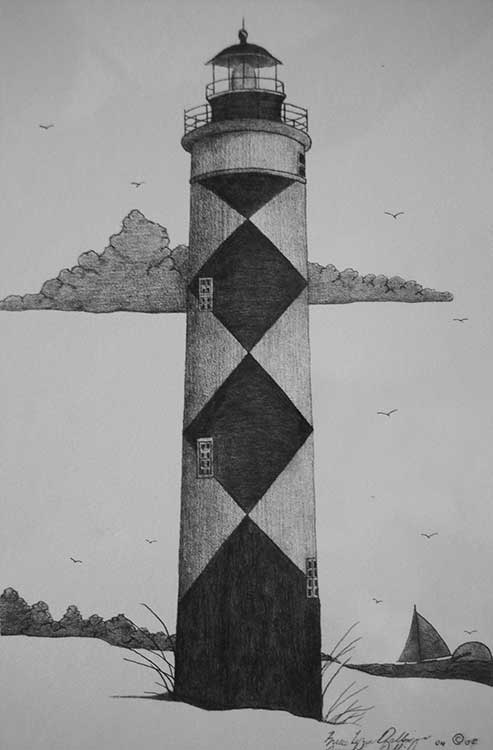 Diamondback-patterned lighthouse