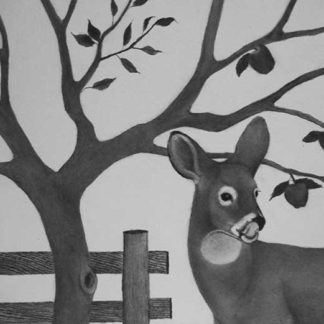 Deer under an apple tree