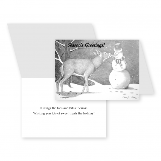 Christmas cards featuring a deer and snowman